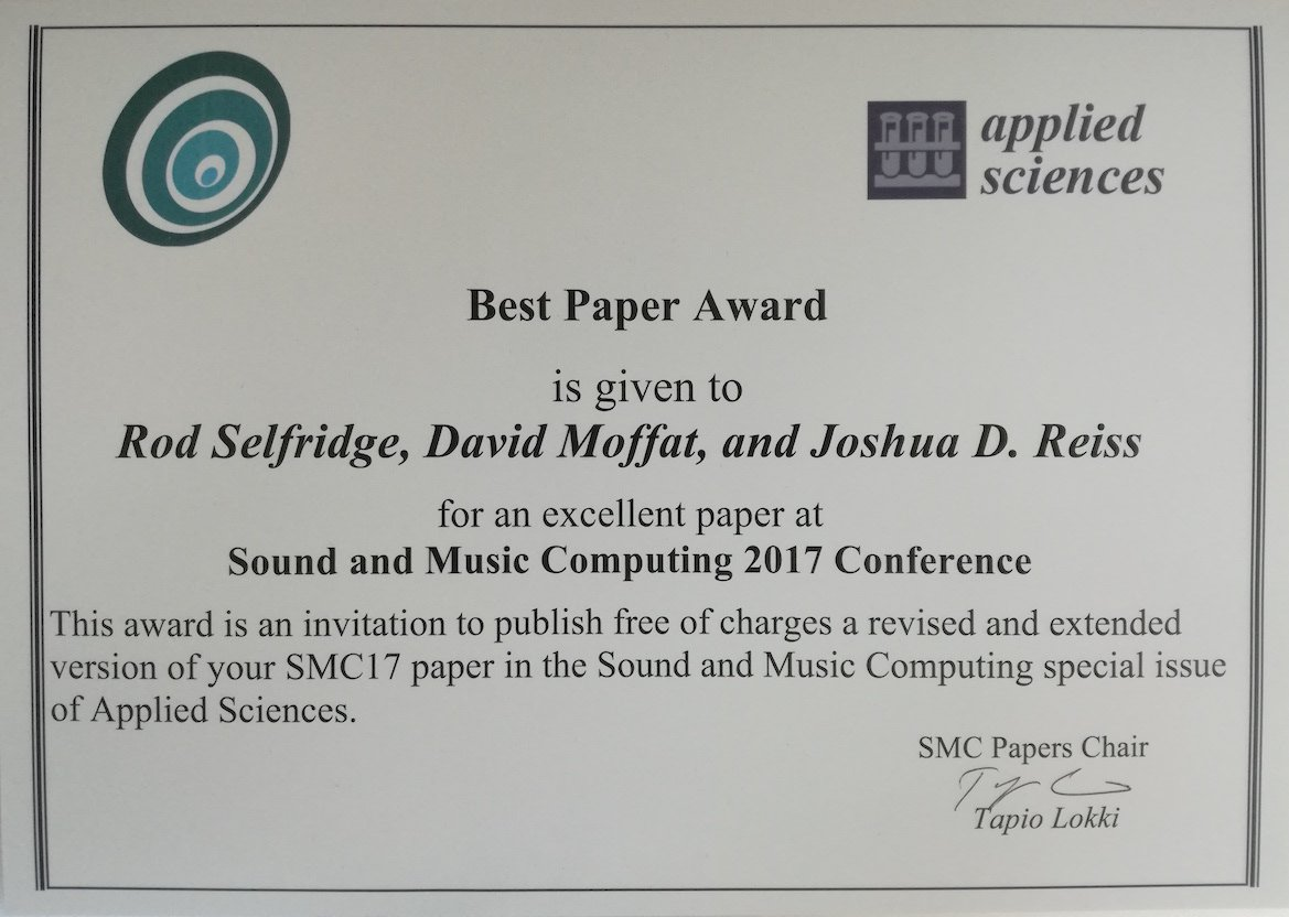best paper award at sound and music computing dave moffat
